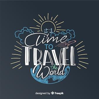 Fundo de viagens de quadro-negro