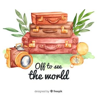Fundo de viagens em aquarela com citação motivacional