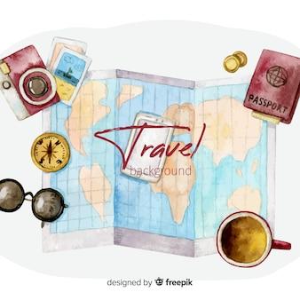 Fundo de viagens em aquarela