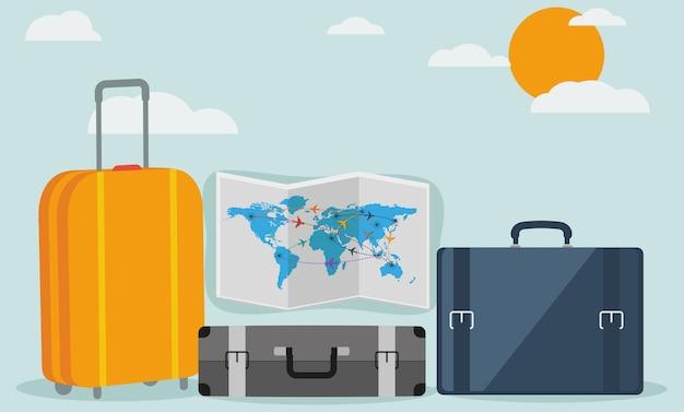 Fundo de viagens isolado no design plano