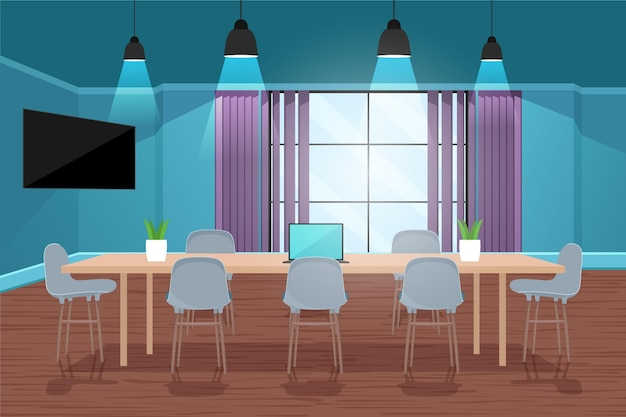 Fundo de videoconferência de escritório com mesa grande
