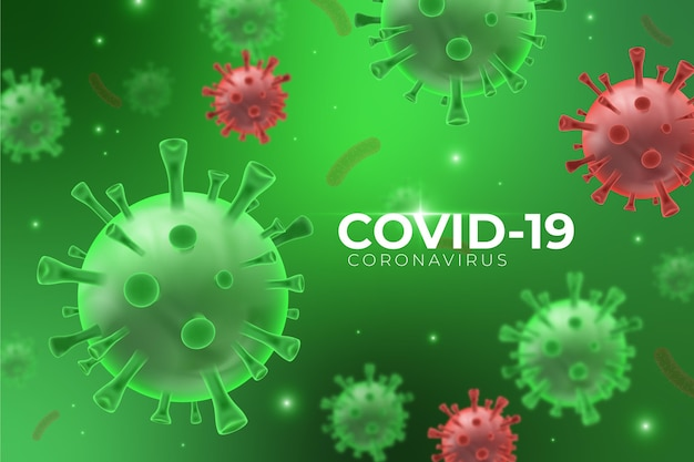 Fundo de vidro realista de coronavírus backgroundg