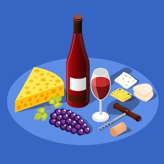 Fundo de vinho e lanches