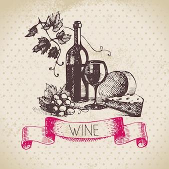 Fundo de vinho vintage. ilustração de esboço desenhado à mão