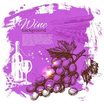 Fundo de vinho vintage. ilustração de mão desenhada. design retro do splash blob