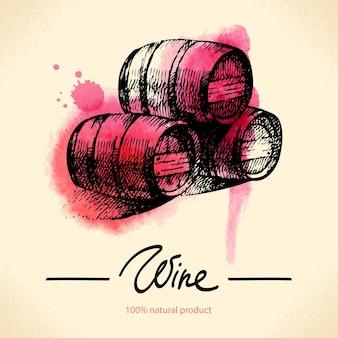 Fundo de vinho vintage. ilustração desenhada à mão em aquarela