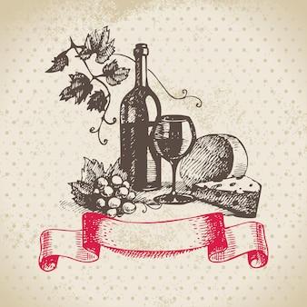 Fundo de vinho vintage. ilustração desenhada à mão