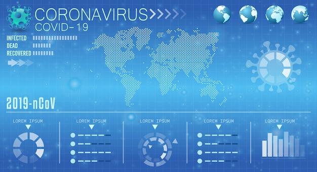 Fundo de vírus mundo banner. infografia médica de coronavírus. infecção por vírus de modelo editável.