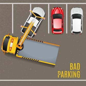Fundo de vista superior de estacionamento ruim