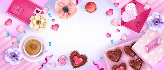 Fundo de vista superior do feriado de dia dos namorados com corações, anêmonas, flores, envelope rosa. férias românticas plana leigos banner de amor com xícara de café, bolos de chocolate. fundo de venda de dia dos namorados