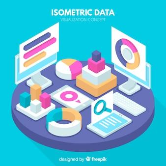 Fundo de visualização de dados isométricos