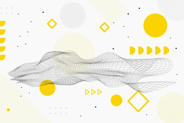 Fundo de wireframe abstrato de design plano