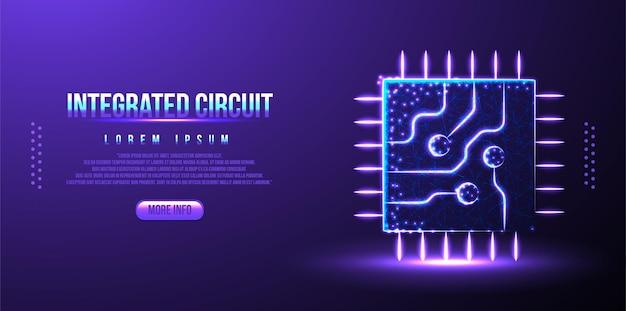 Fundo de wireframe de poli baixa poligonal de circuito integrado