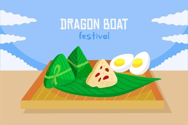 Fundo de zongzi do barco de dragão desenhado de mão