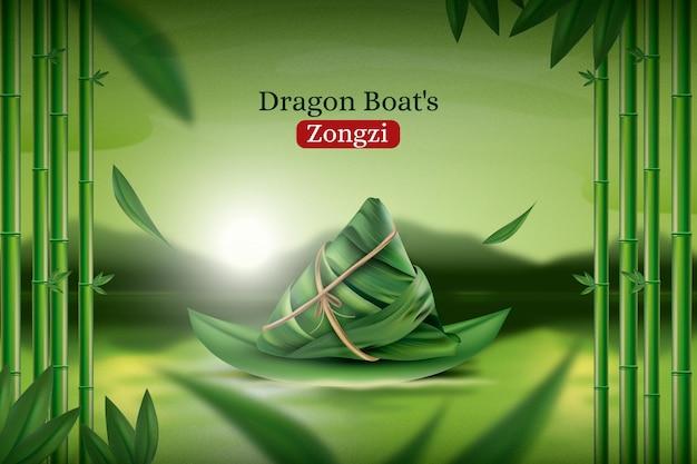 Fundo de zongzi do barco dragão realista