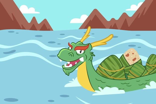 Fundo de zongzi do barco-dragão