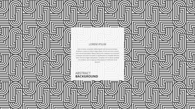 Fundo decorativo abstrato de linhas de forma quadrada circular com modelo de texto de amostra