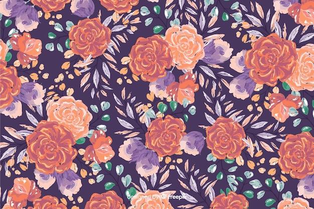 Fundo decorativo colorido flores pintadas