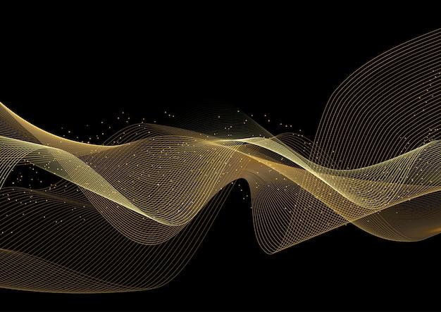 Fundo decorativo com design de ondas douradas brilhantes