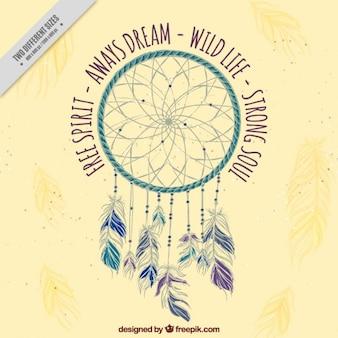 Fundo decorativo com dreamcatcher e inspiradoras palavras