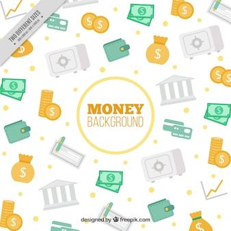 Fundo decorativo com elementos dinheiro