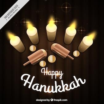 Fundo decorativo com itens hanukkah