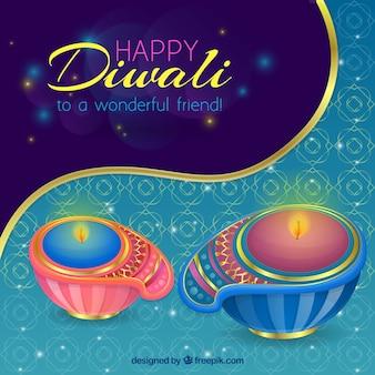 Fundo decorativo com velas decorativas de diwali