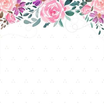 Fundo decorativo de aquarela flor rosa com espaço de texto