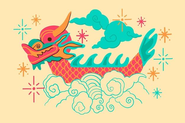 Fundo decorativo de barco dragão