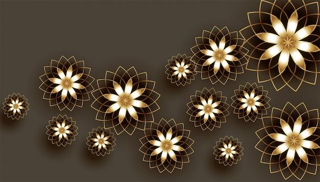 Fundo decorativo de belas flores douradas 3d