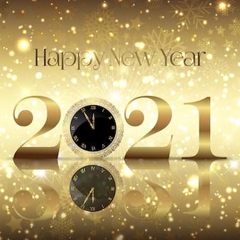 Fundo decorativo de feliz ano novo com mostrador de relógio
