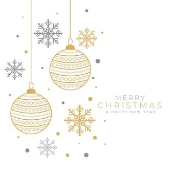 Fundo decorativo de feliz natal com bugiganga e floco de neve