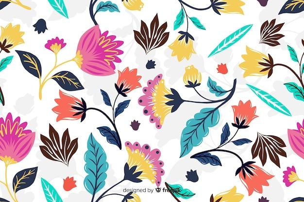 Fundo decorativo de flores exóticas coloridas