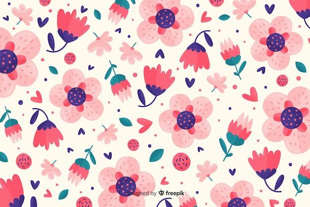 Fundo decorativo de flores planas coloridas