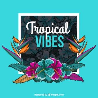 Fundo decorativo de flores tropicais desenhadas a mão