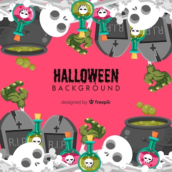 Fundo decorativo de halloween com caveiras