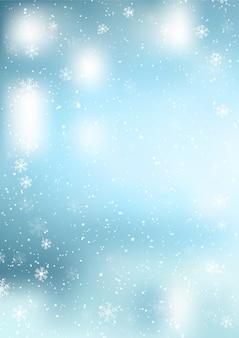 Fundo decorativo de natal com flocos de neve caindo