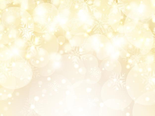 Fundo decorativo de natal dourado com flocos de neve e estrelas