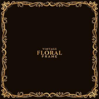 Fundo decorativo de ornamento de moldura floral dourada
