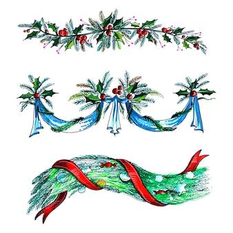 Fundo decorativo do cartão do feriado da guirlanda de natal