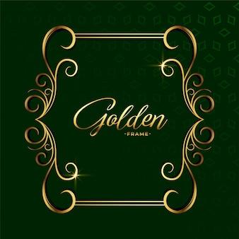 Fundo decorativo dourado com moldura de luxo floral