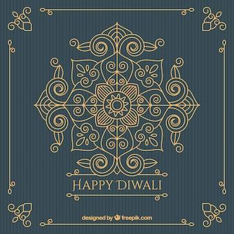 Fundo decorativo dourado vintage de diwali