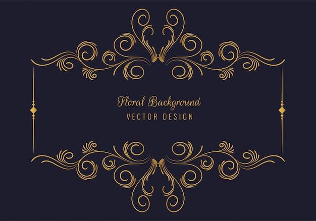 Fundo decorativo elegante com moldura floral dourada