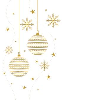 Fundo decorativo elegante de feliz natal nas cores branco e dourado