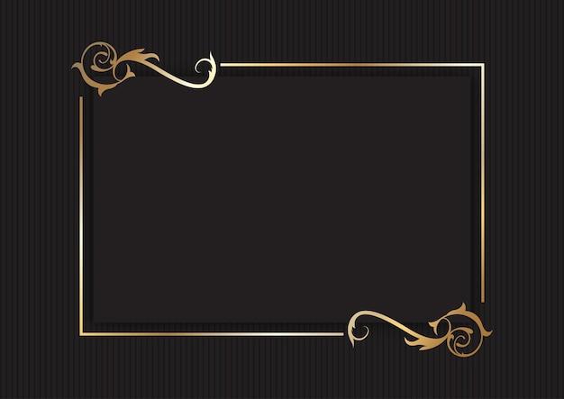 Fundo decorativo elegante moldura dourada