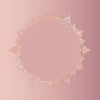 Fundo decorativo em ouro rosa com moldura elegante
