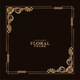 Fundo decorativo étnico dourado com moldura floral