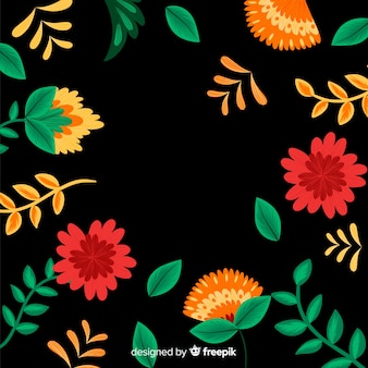 Fundo decorativo floral bordado mexicano