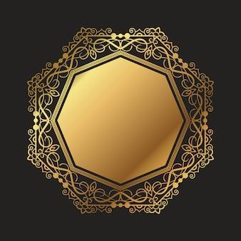 Fundo decorativo moldura de ouro