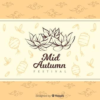 Fundo decorativo para o festival de outono meados de estilo desenhado na mão